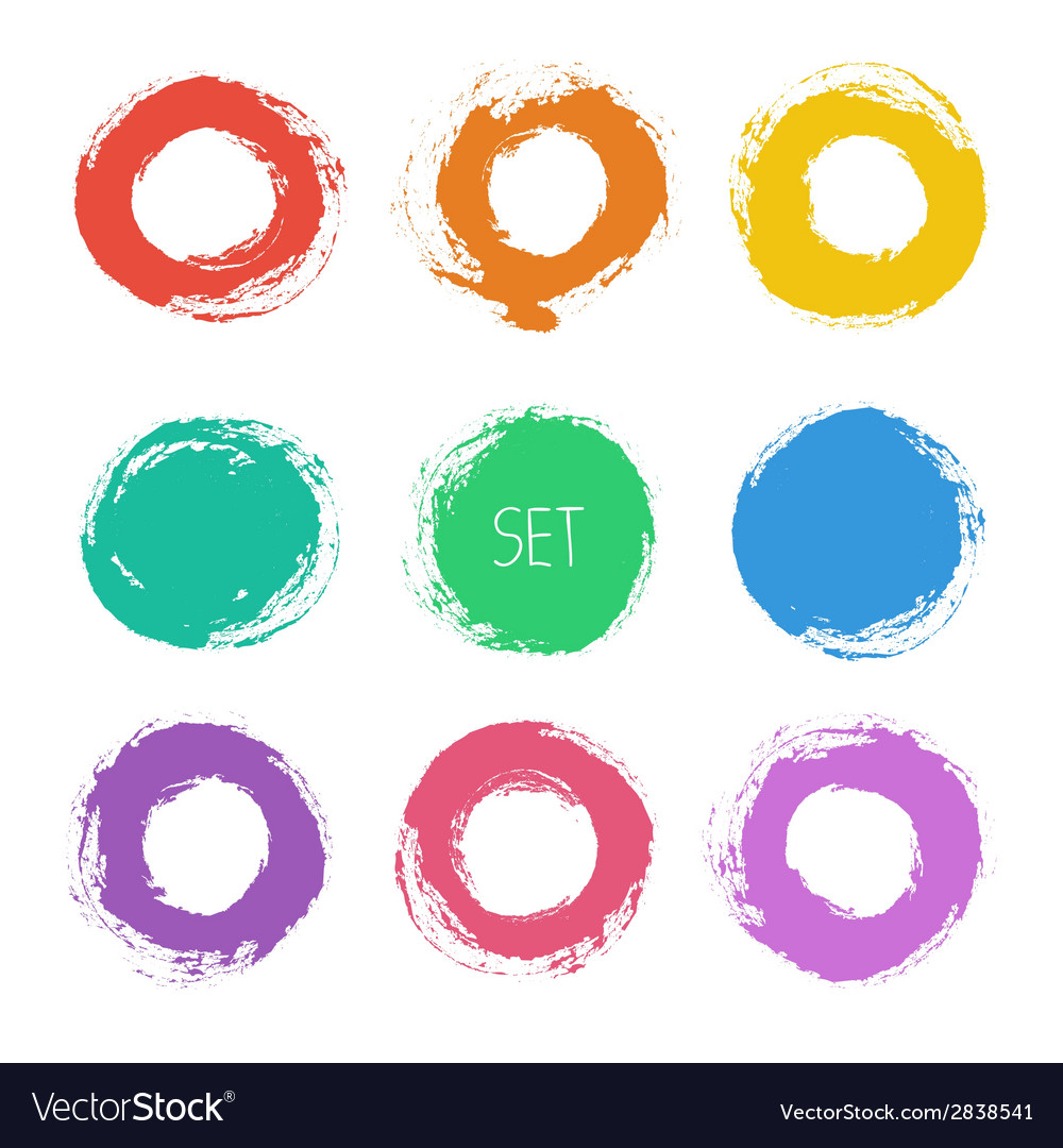 Set of round grunge frames hand drawn design vector | Price: 1 Credit (USD $1)