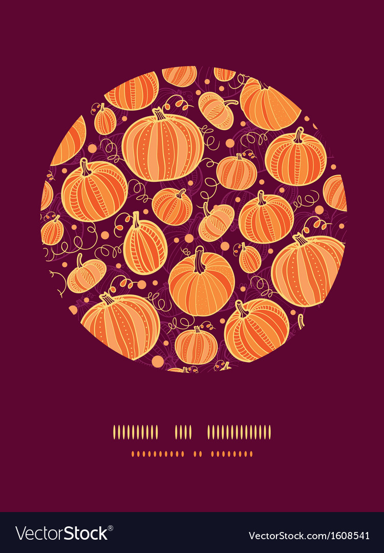 Thanksgiving pumpkins circle decor pattern vector | Price: 1 Credit (USD $1)