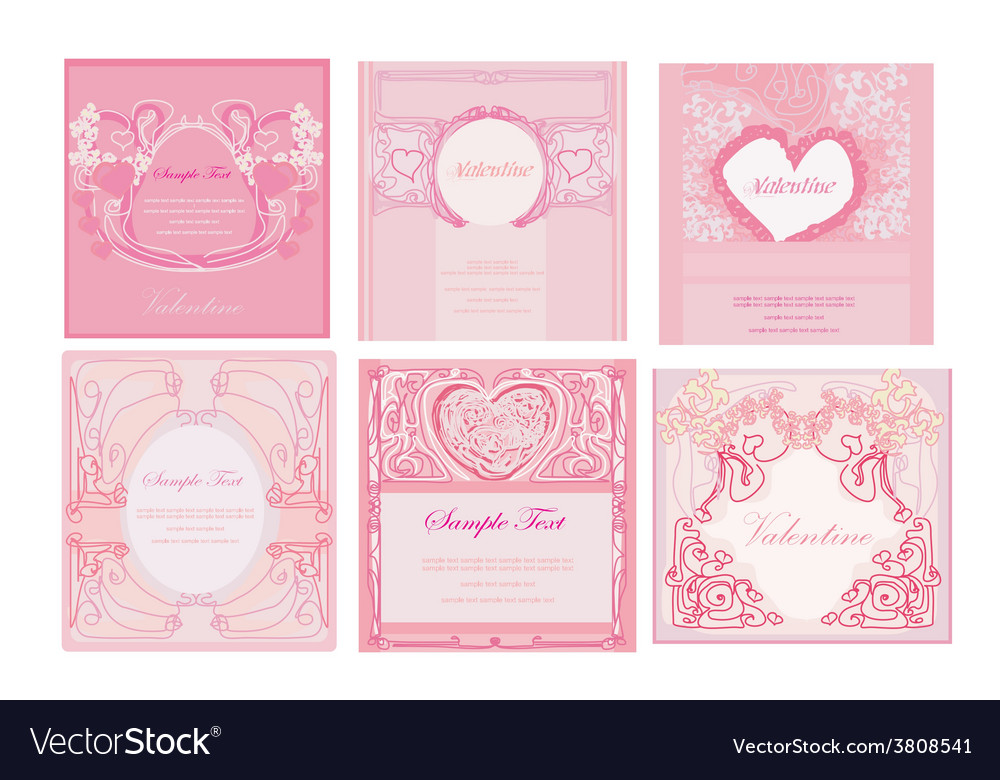 Valentines day cards set vector | Price: 1 Credit (USD $1)