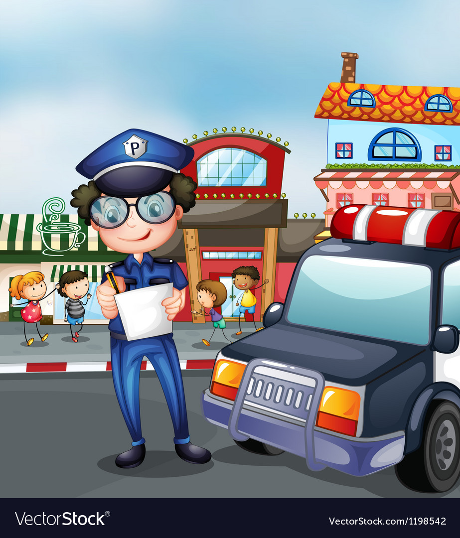 A policeman at a busy street vector | Price: 1 Credit (USD $1)