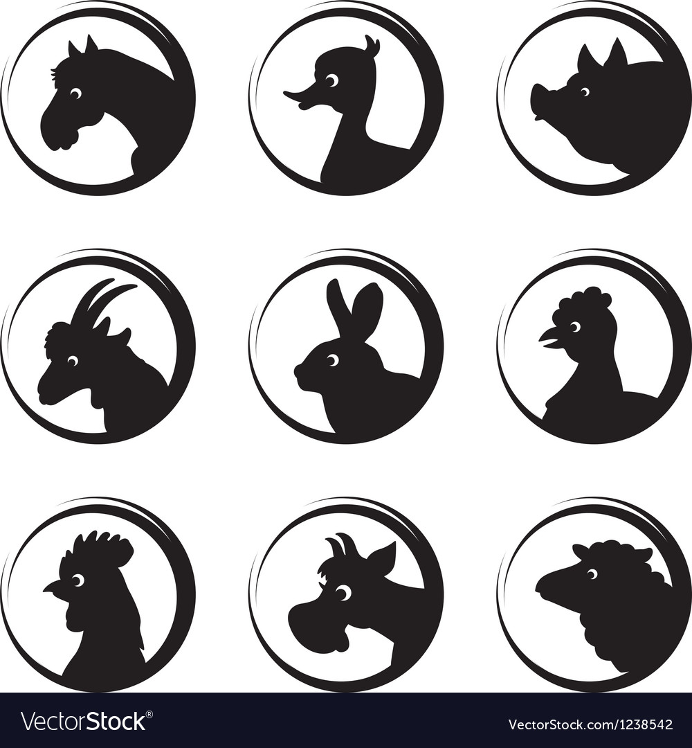 Animals farm silhouette icon set vector | Price: 1 Credit (USD $1)