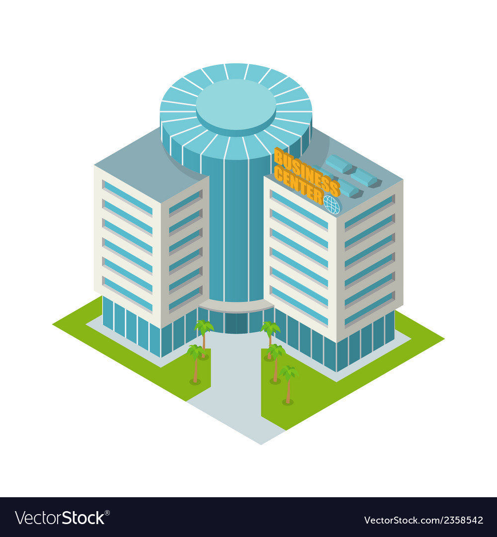 Business center building isometric vector | Price: 1 Credit (USD $1)