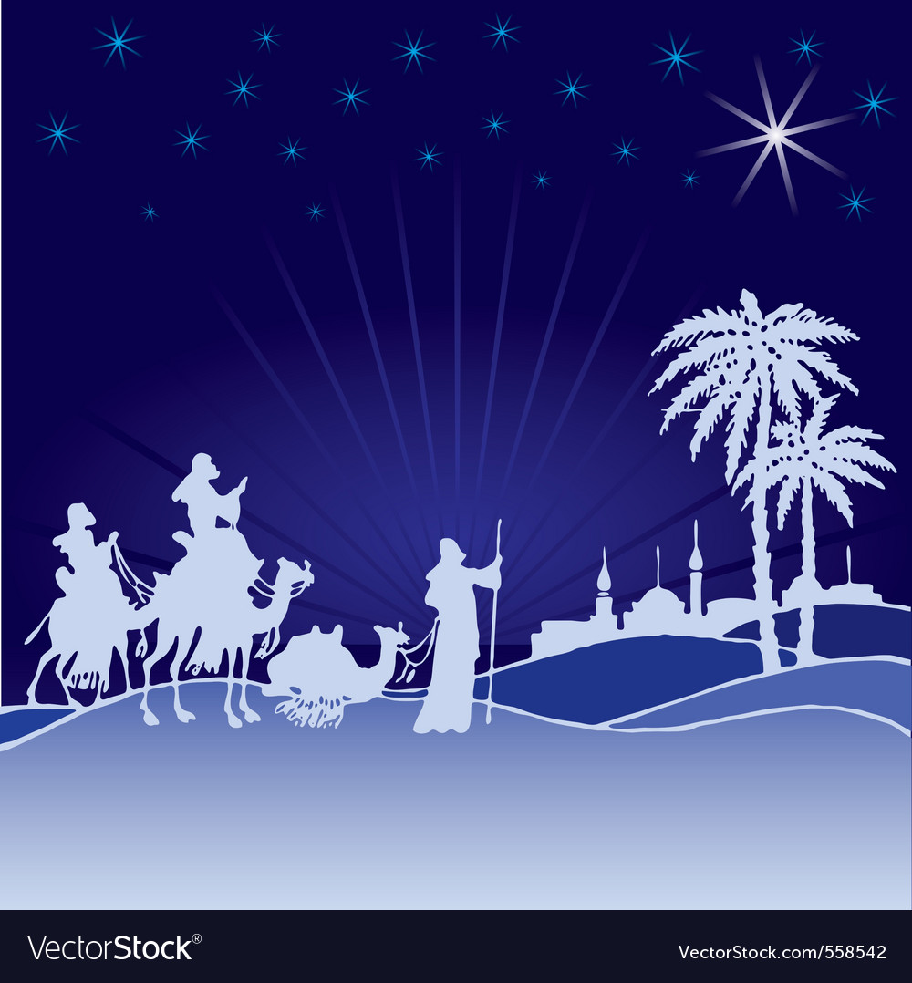 Classic three magic scene wisemen vector | Price: 1 Credit (USD $1)