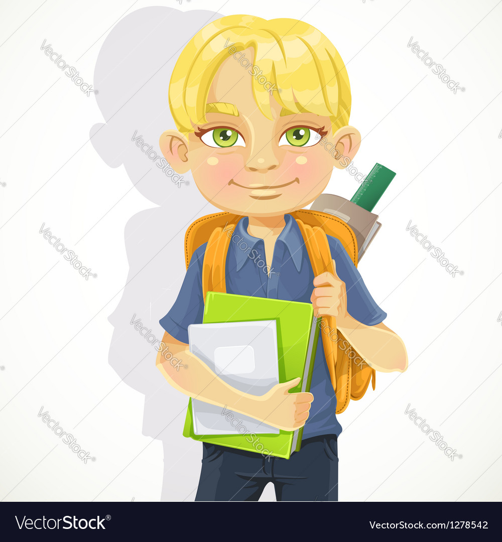 Cute schoolboy with textbooks on white vector | Price: 1 Credit (USD $1)