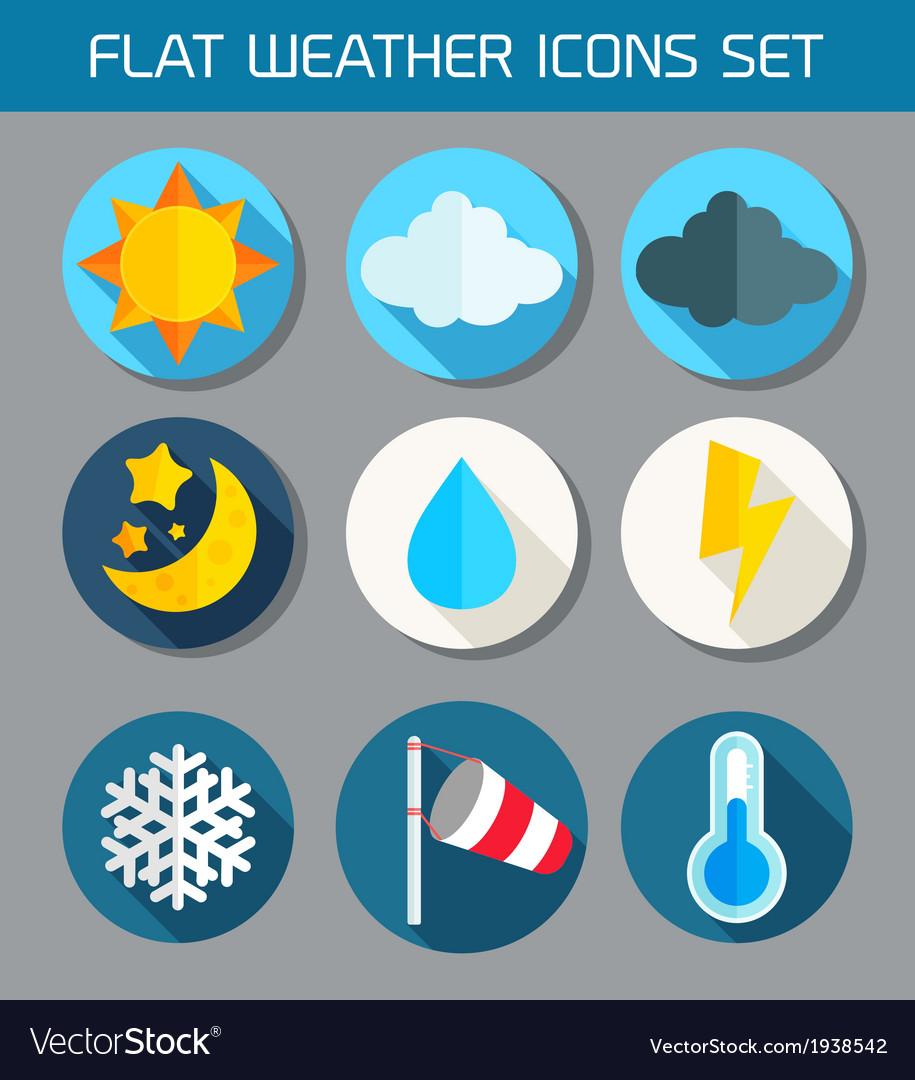Flat weather icons set for web and mobile vector | Price: 1 Credit (USD $1)
