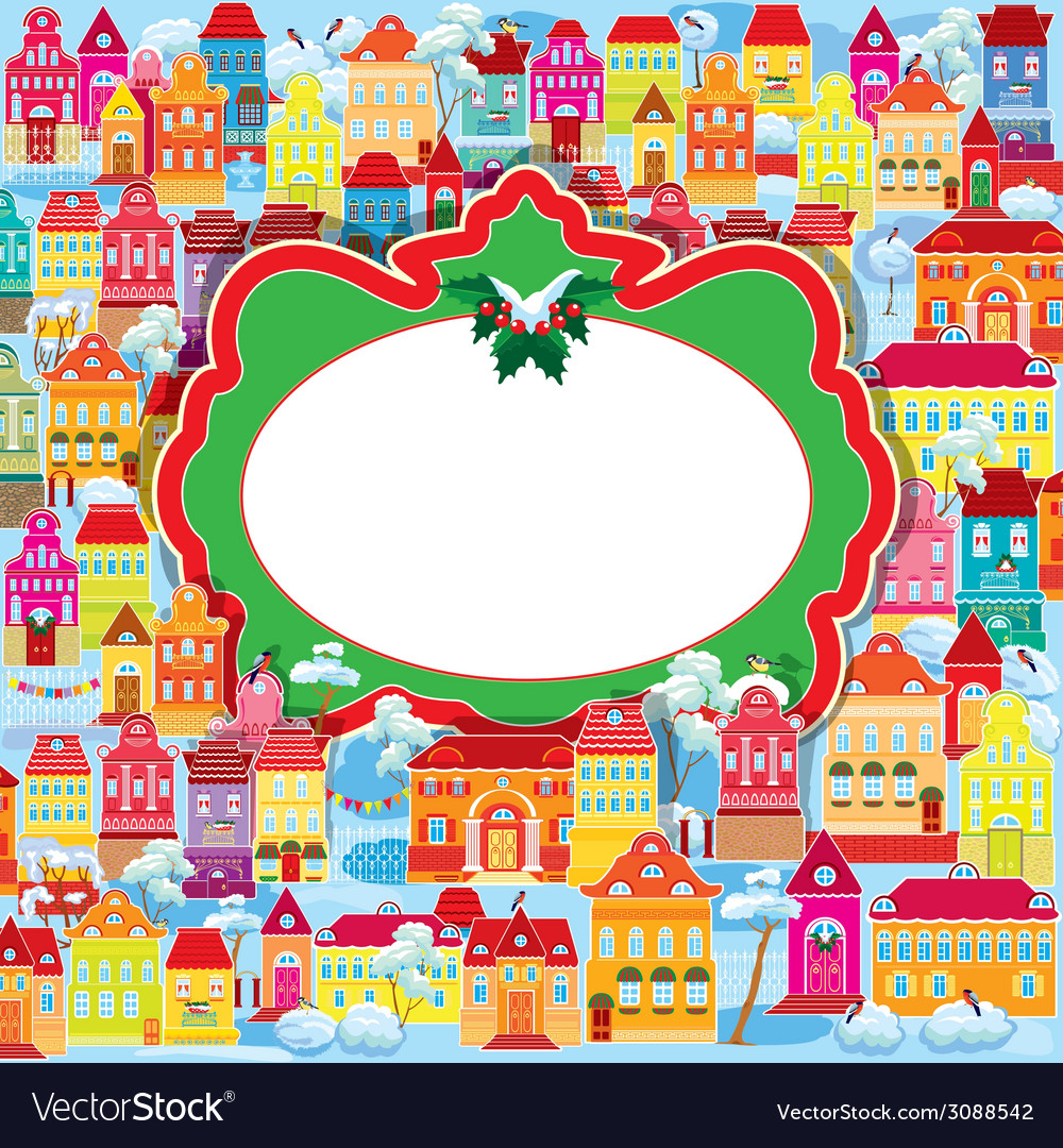 Frame with decorative colorful houses christmas an vector | Price: 1 Credit (USD $1)