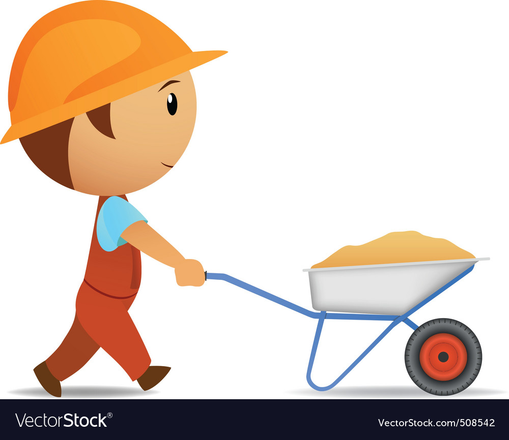 N vector worker with wheelbarrow vector | Price: 1 Credit (USD $1)
