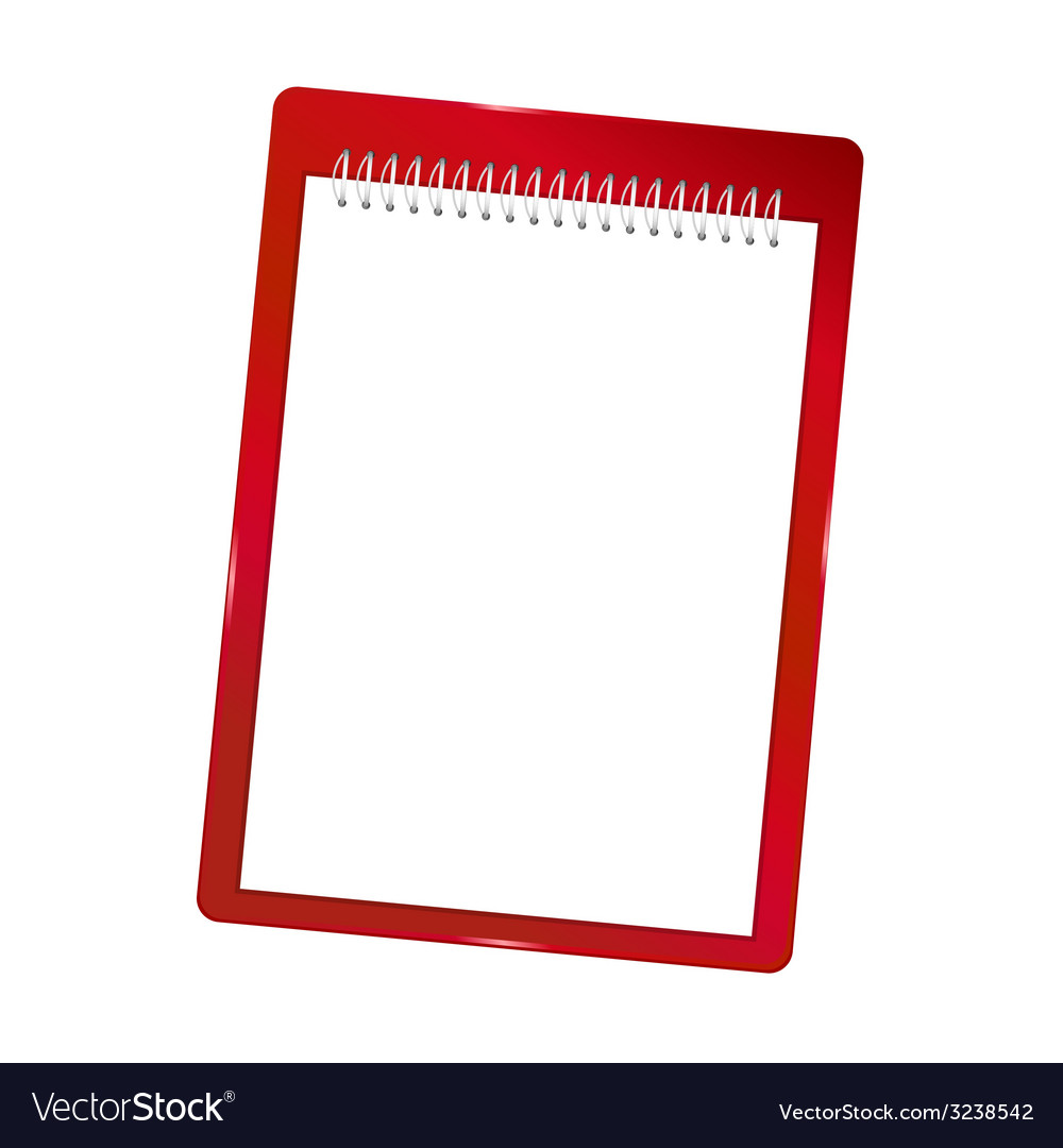 Notebook blank with spiral red vector | Price: 1 Credit (USD $1)