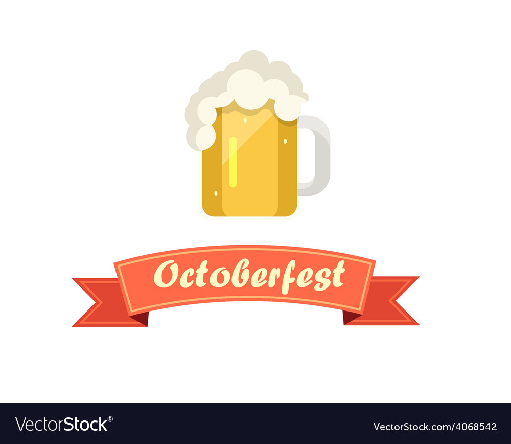Pint of beer on octoberfest with ribbon vector | Price: 1 Credit (USD $1)