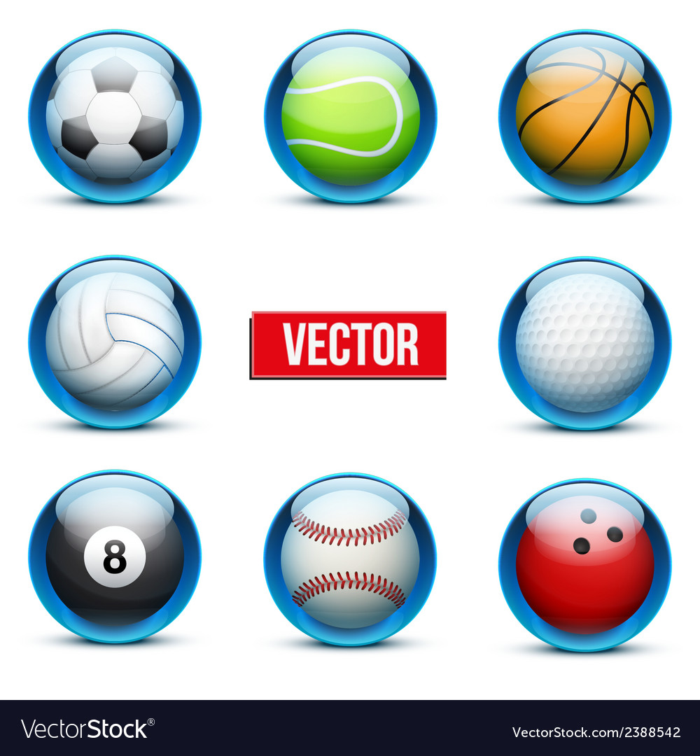 Set of glass icons sports themes for website or vector | Price: 1 Credit (USD $1)