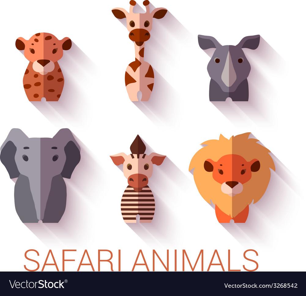 Set of six safari animals on white background vector | Price: 1 Credit (USD $1)