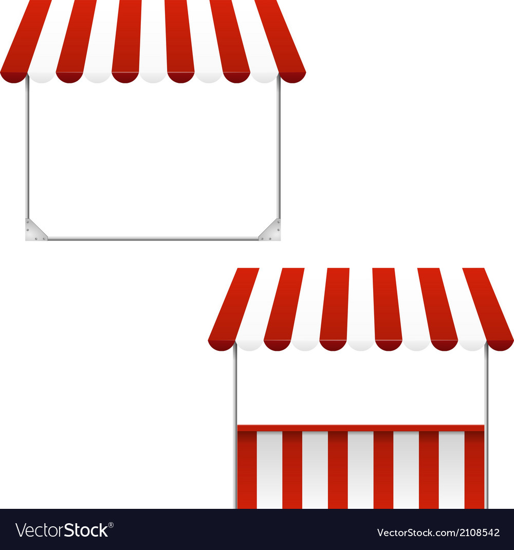Set of striped awnings vector | Price: 1 Credit (USD $1)