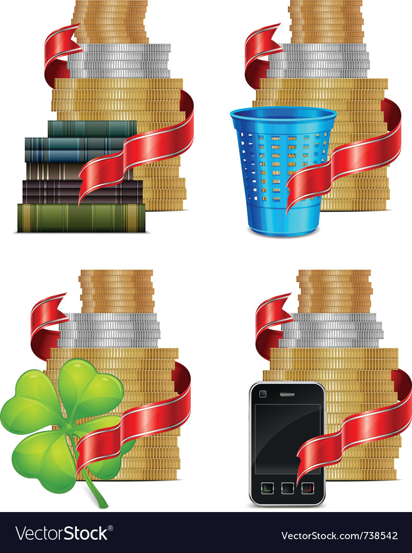 Stacks of coins with ribbon books trash vector   Price: 3 Credit (USD $3)
