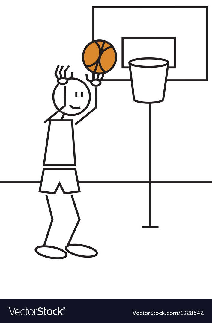 Stick figure basketball vector | Price: 1 Credit (USD $1)