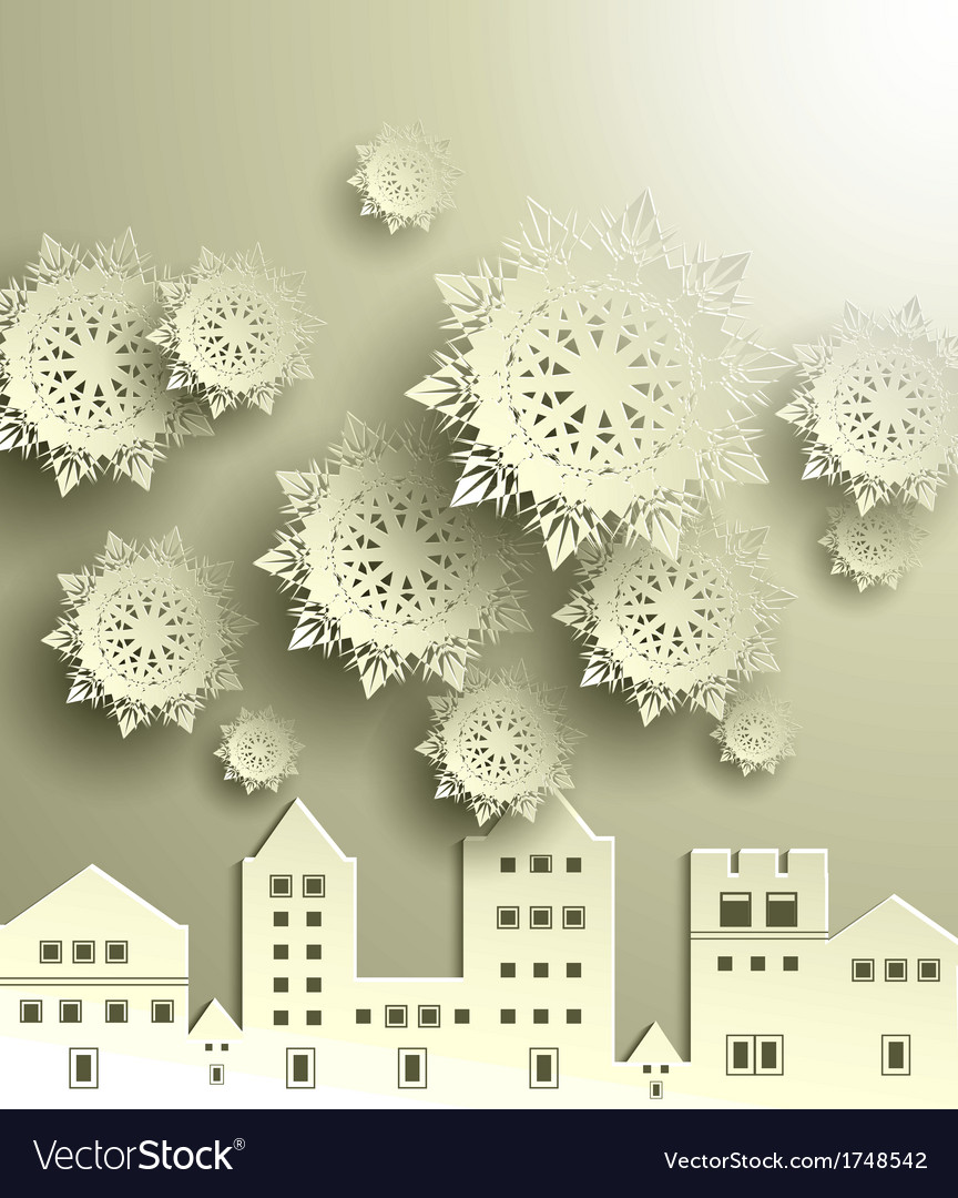 Town with snowflake vector | Price: 1 Credit (USD $1)