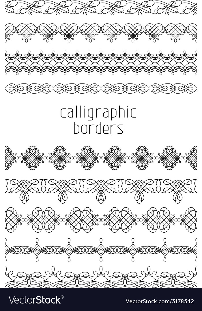 Vintage seamless borders isolated on white vector | Price: 1 Credit (USD $1)