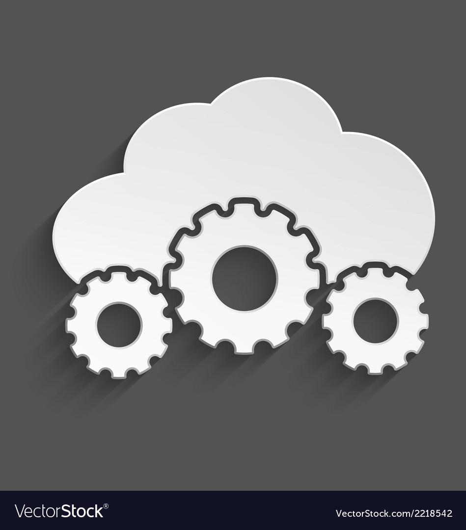 White cloud with cogs 3d vector | Price: 1 Credit (USD $1)
