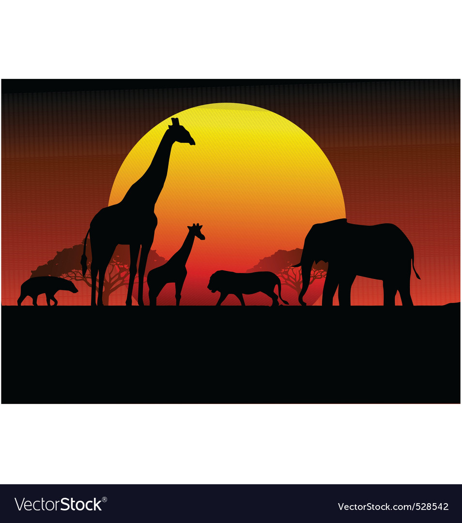 Wildlife silhouette vector | Price: 1 Credit (USD $1)