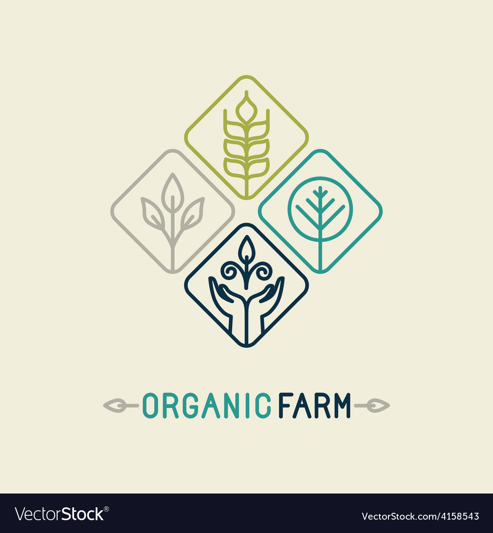 Agriculture and organic farm line logo vector | Price: 1 Credit (USD $1)