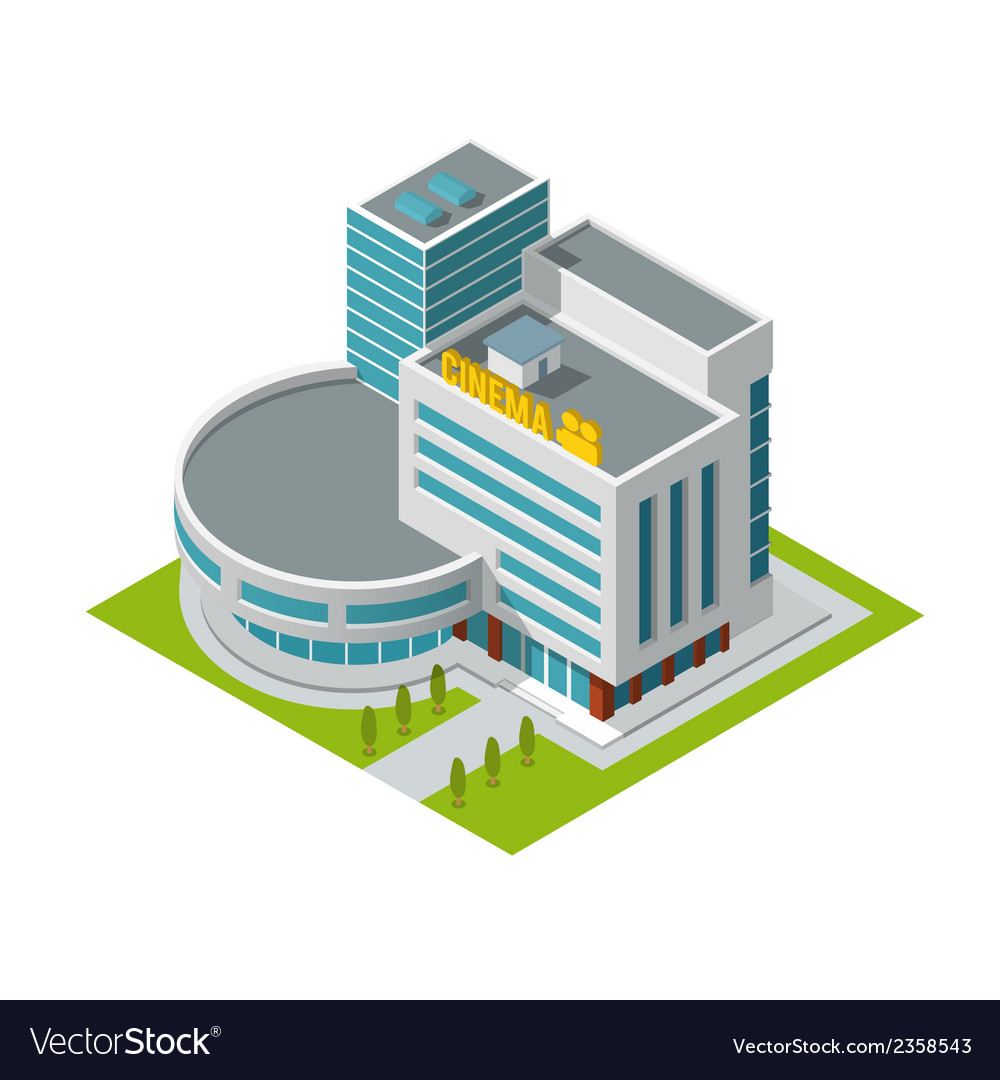 Cinema building isometric vector | Price: 1 Credit (USD $1)
