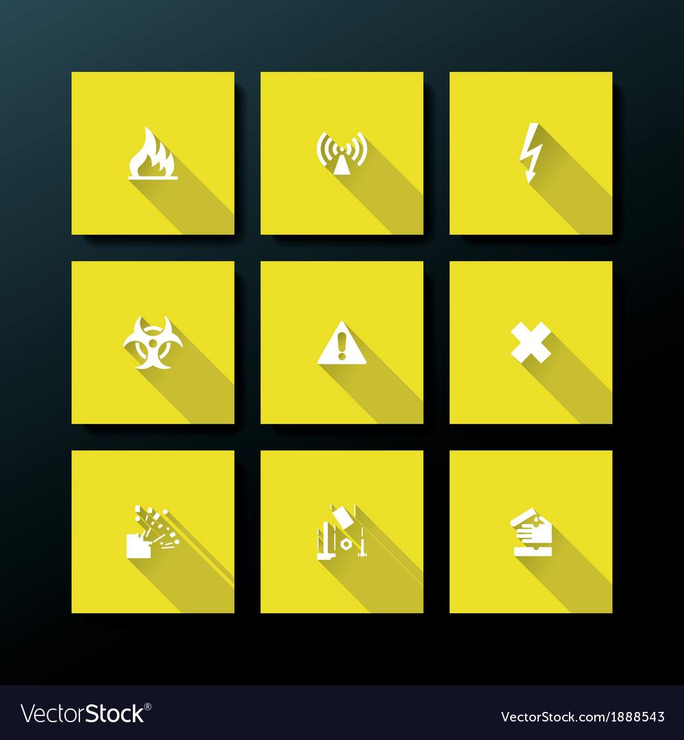 Flat warning icon set vector   Price: 1 Credit (USD $1)