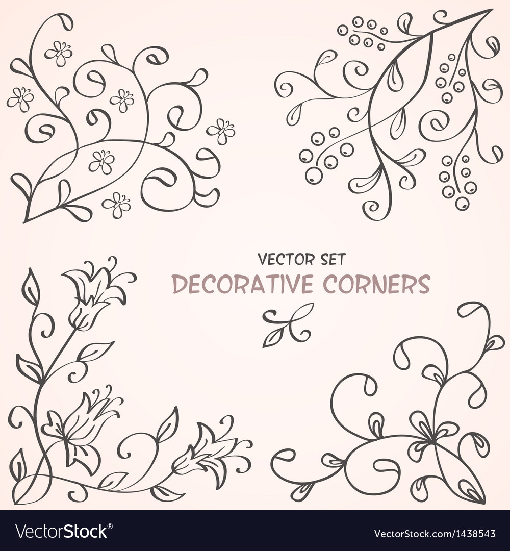 Floral decorative corners vector | Price: 1 Credit (USD $1)