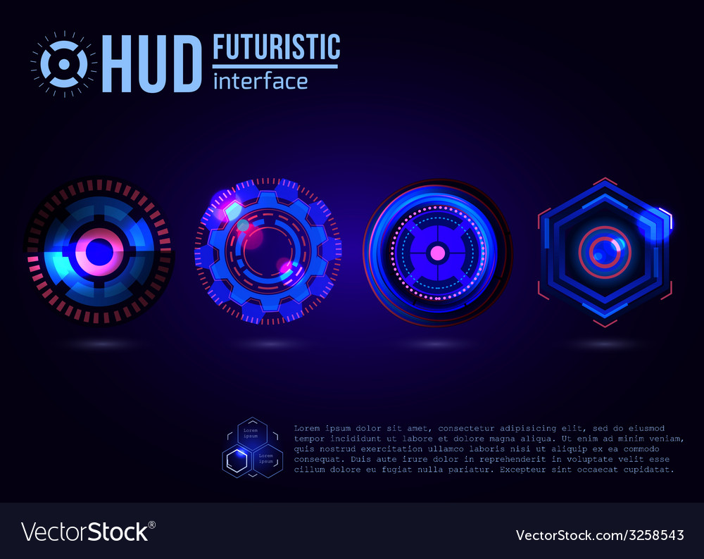 Futuristic hud interface elements vector | Price: 1 Credit (USD $1)
