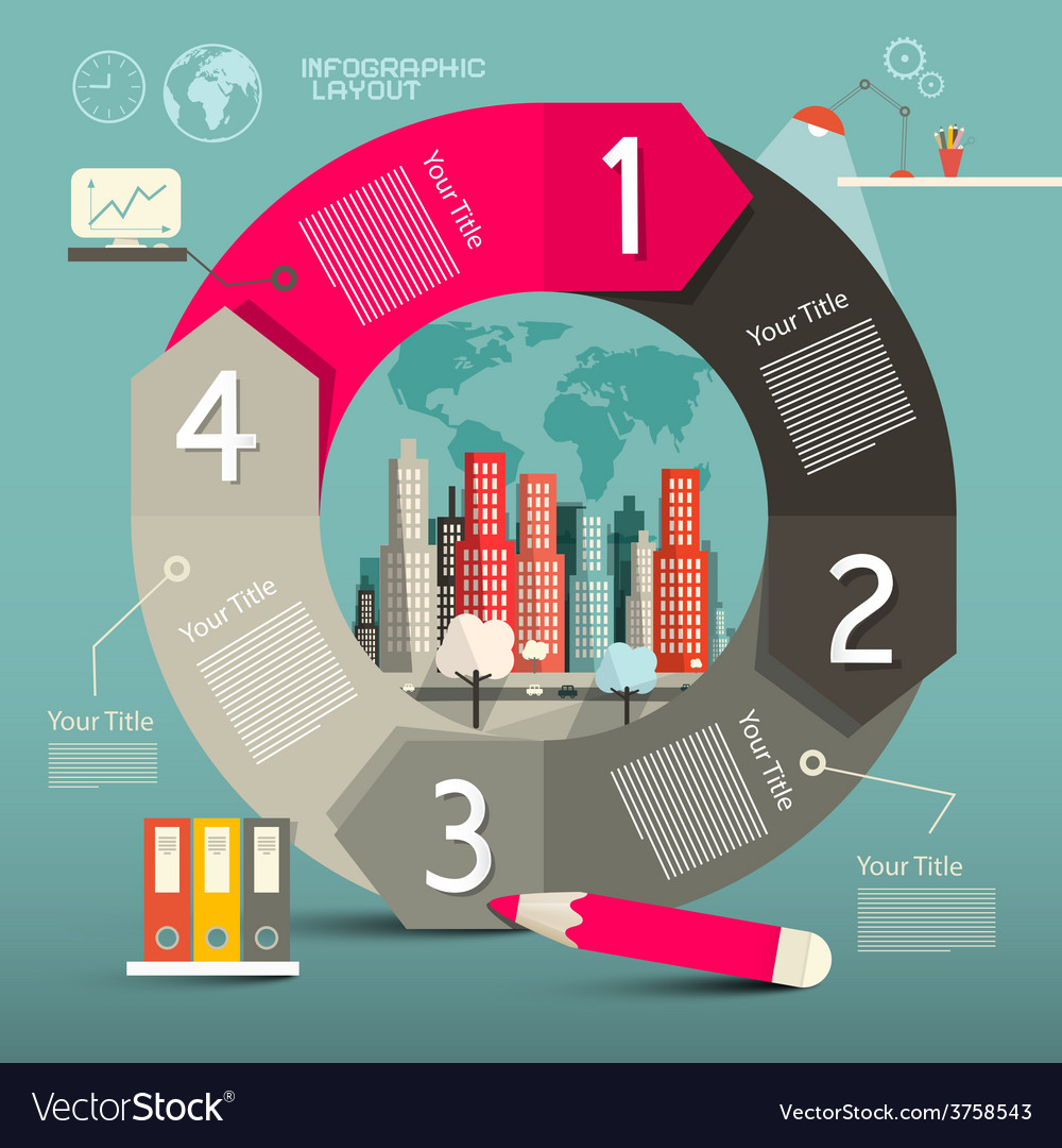 Infographics template - layout with city vector | Price: 1 Credit (USD $1)