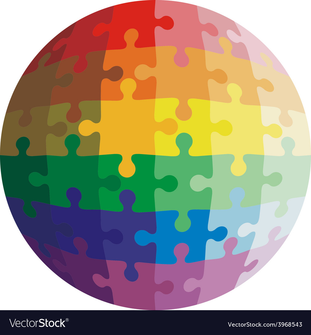 Jigsaw puzzle shape of a ball colors rainbow vector | Price: 1 Credit (USD $1)