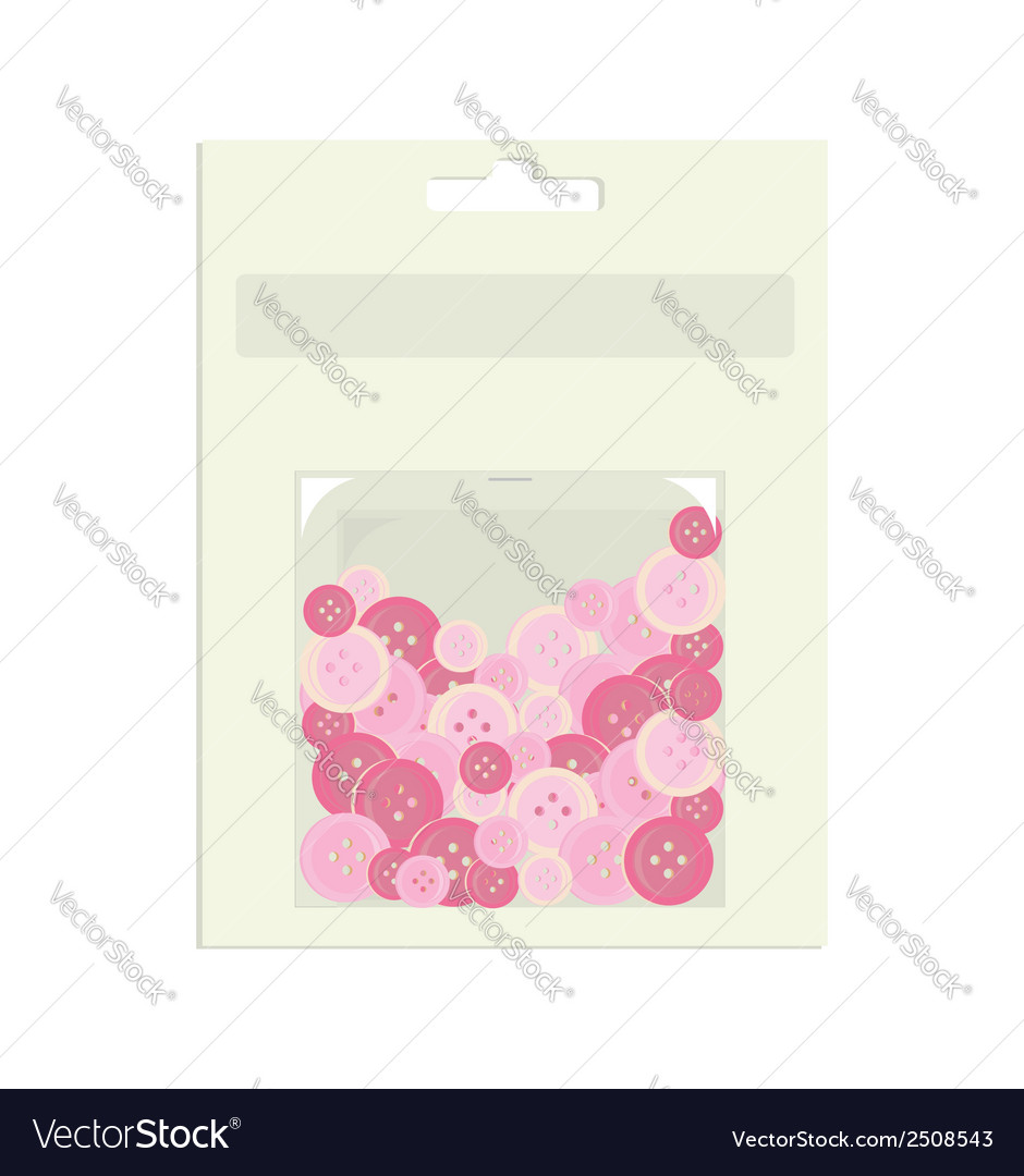 Pink buttons in packaging container vector | Price: 1 Credit (USD $1)