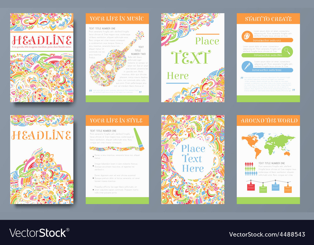 Set of bright ornament abstract flyer with vector | Price: 1 Credit (USD $1)