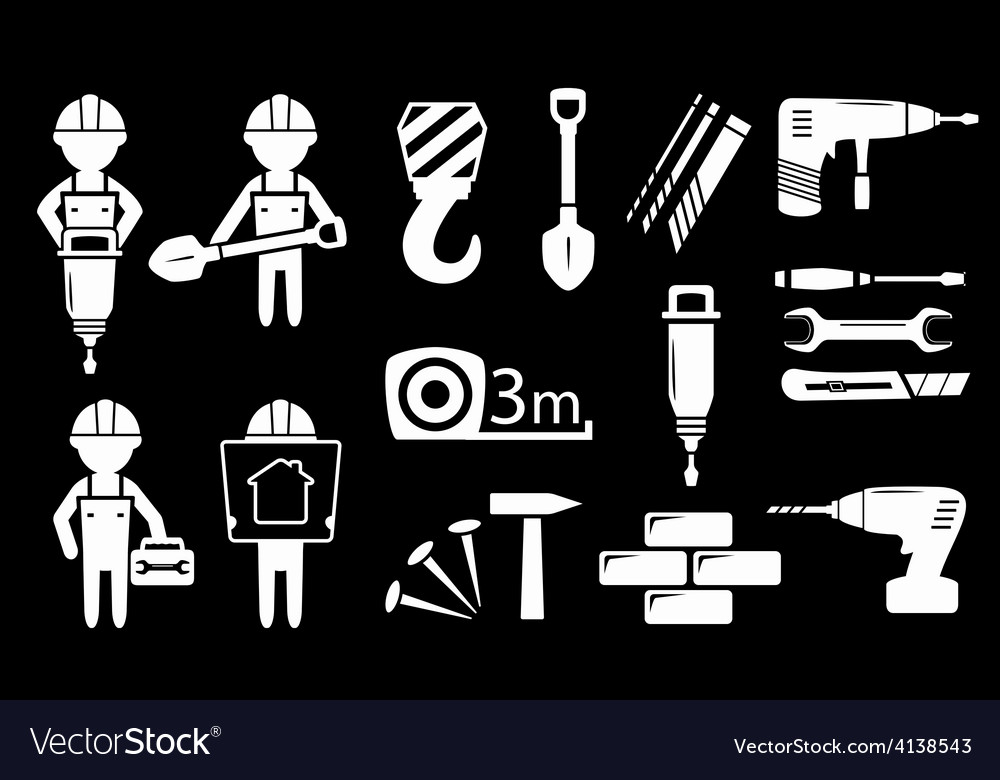 Set white construction industry objects vector | Price: 1 Credit (USD $1)