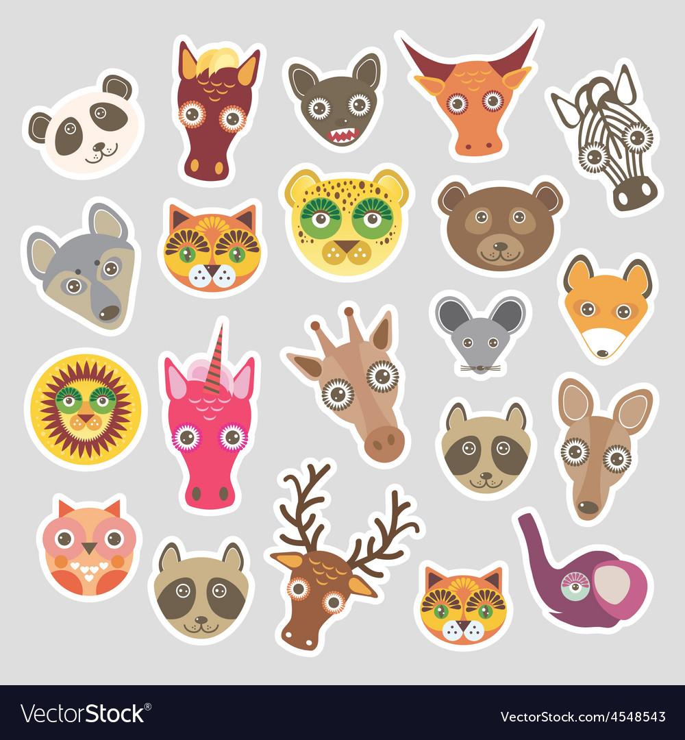 Sticker set of funny animals muzzle vector | Price: 1 Credit (USD $1)