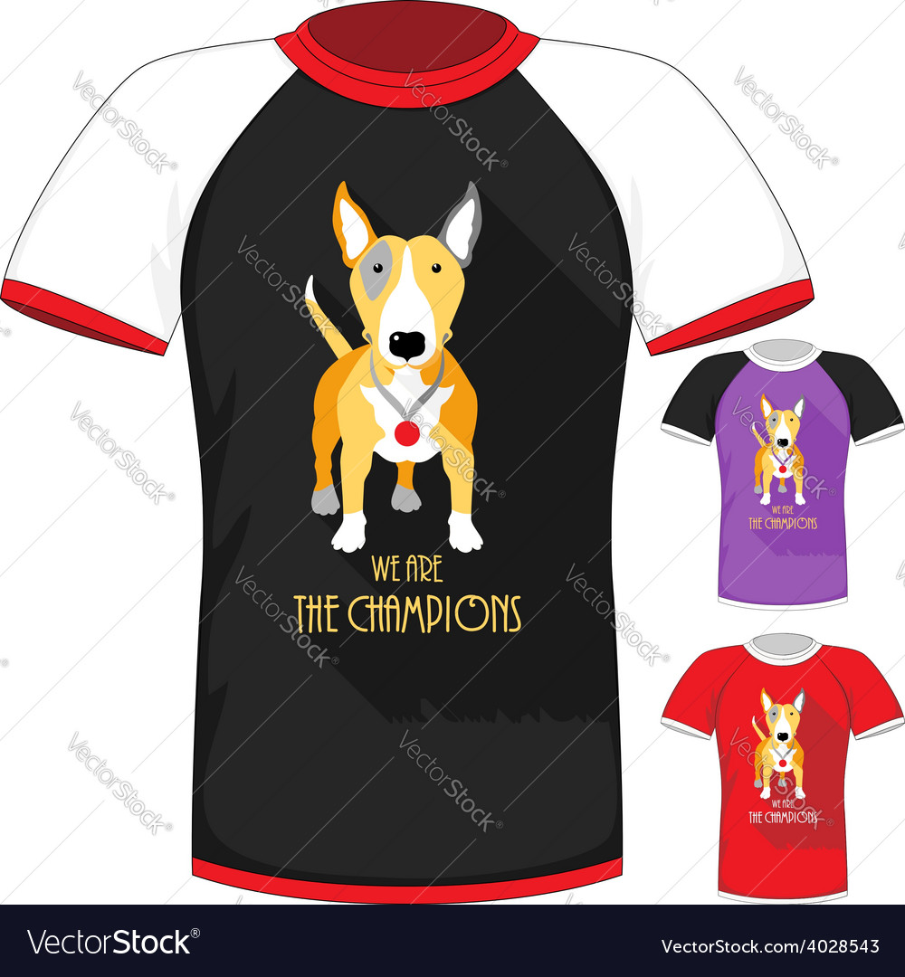 T-shirt with bull terrier dog champion vector | Price: 1 Credit (USD $1)