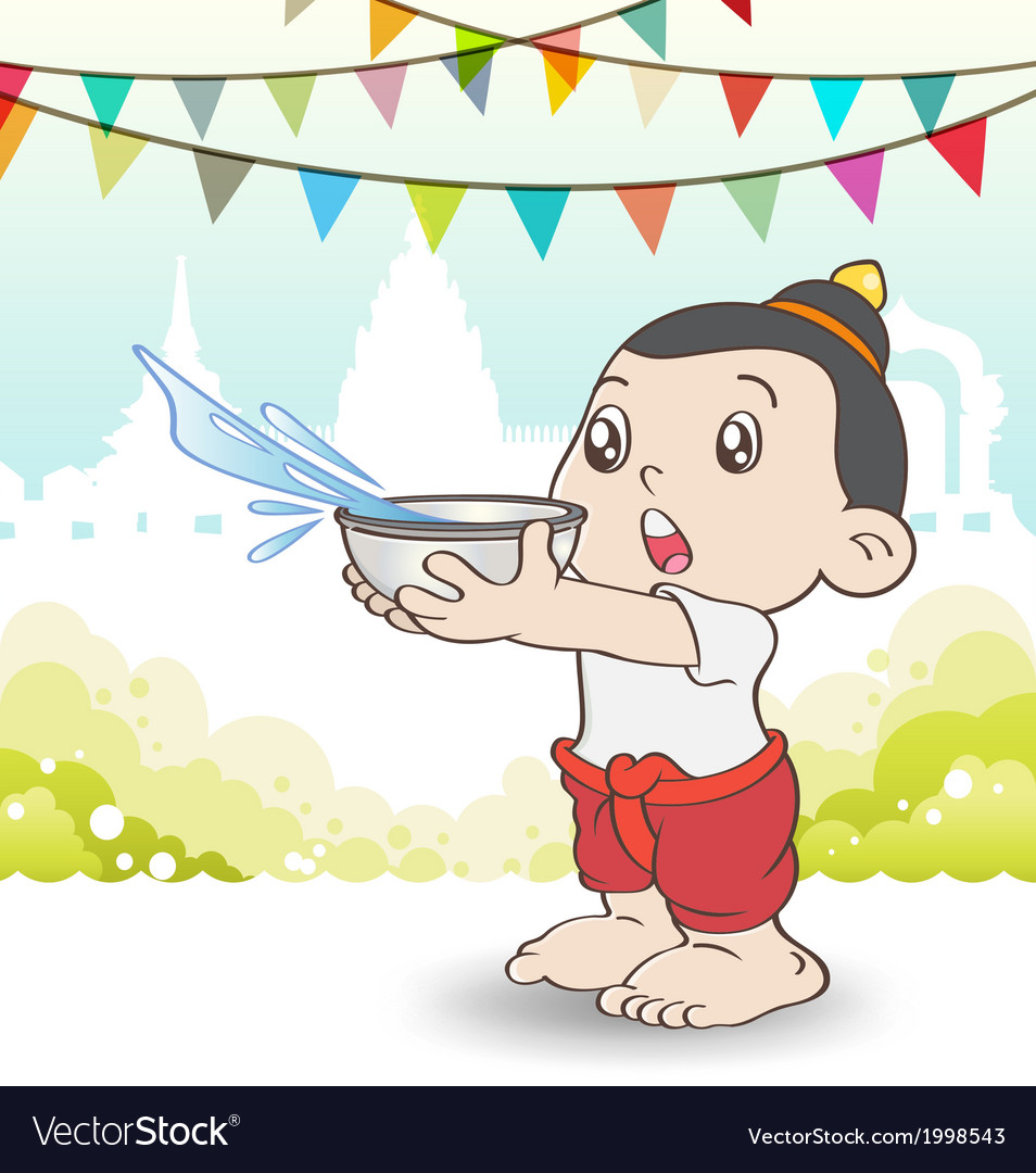 Young asian boy playing songkran festival vector | Price: 1 Credit (USD $1)