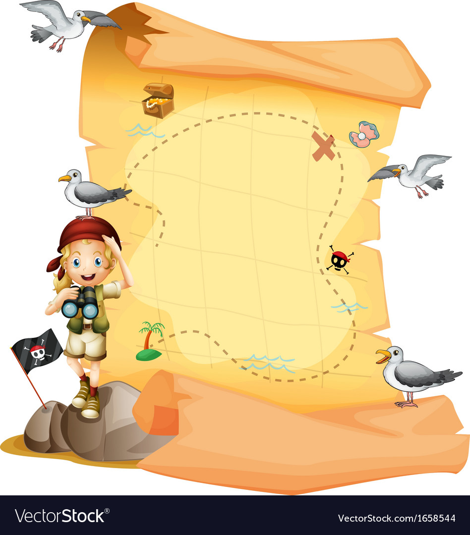 A treasure map and a young girl holding a vector | Price: 3 Credit (USD $3)
