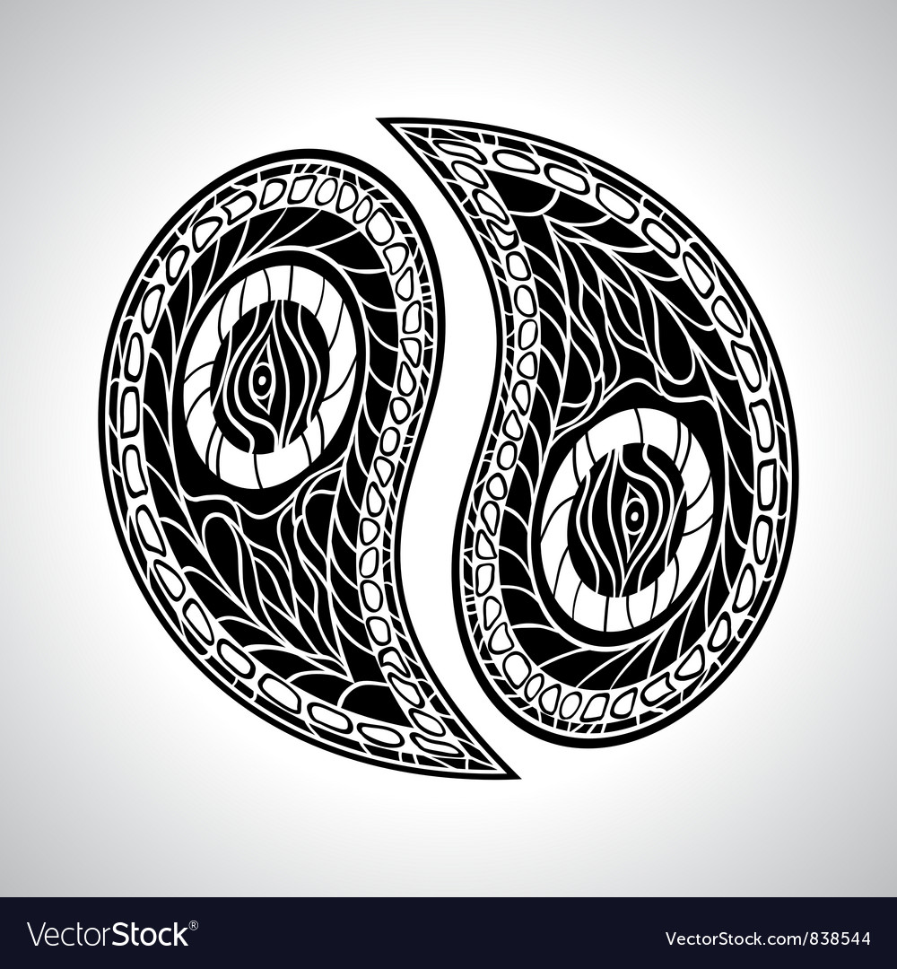Abstract floral yin yang symbol vector   Price: 1 Credit (USD $1)