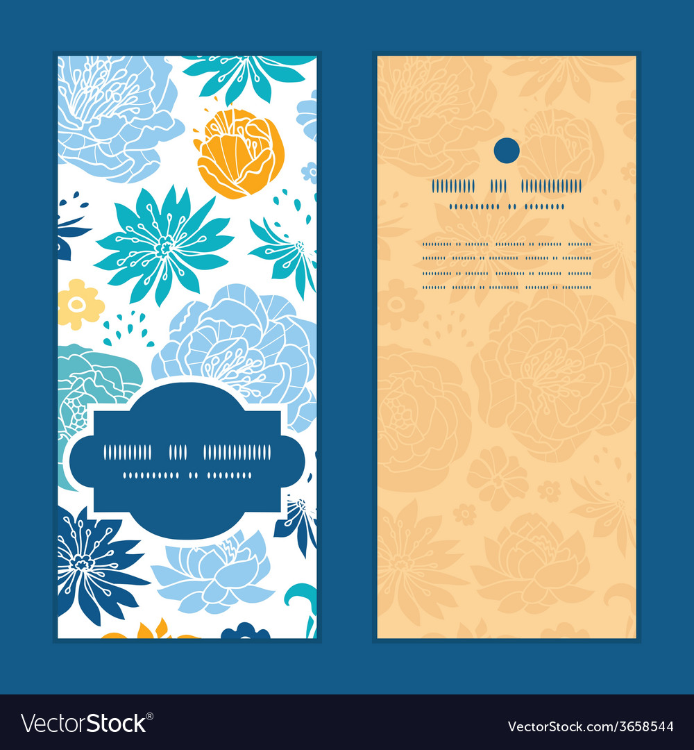 Blue and yellow flowersilhouettes vertical frame vector | Price: 1 Credit (USD $1)