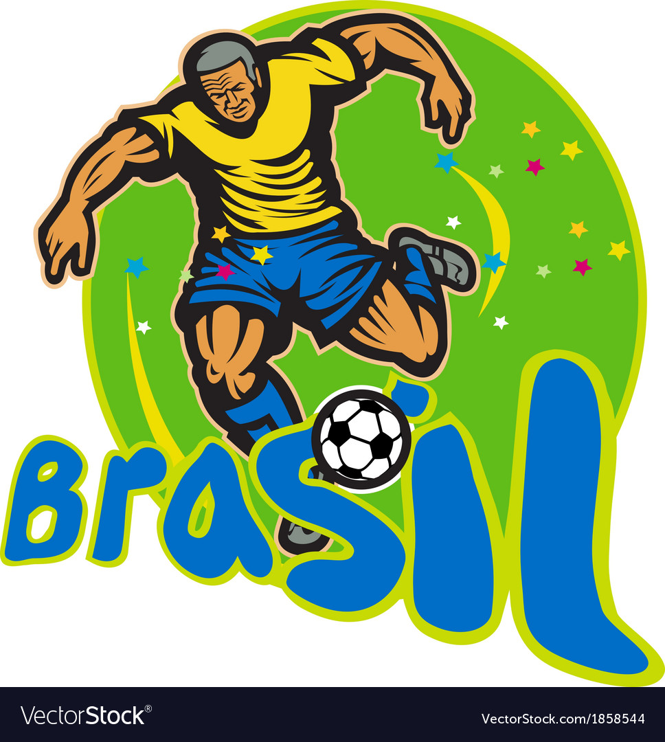 Brazil football player kicking ball retro vector | Price: 1 Credit (USD $1)