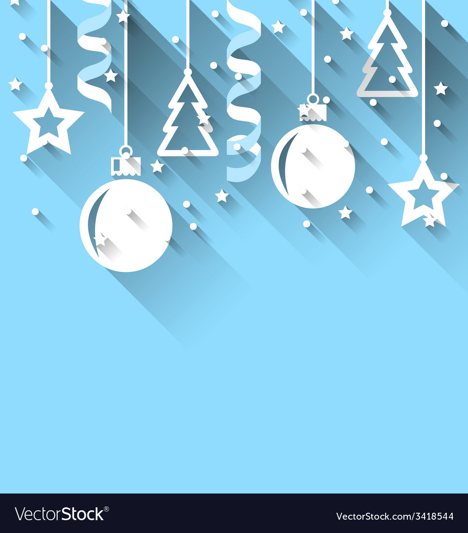 Christmas background with fir balls stars streamer vector | Price: 1 Credit (USD $1)
