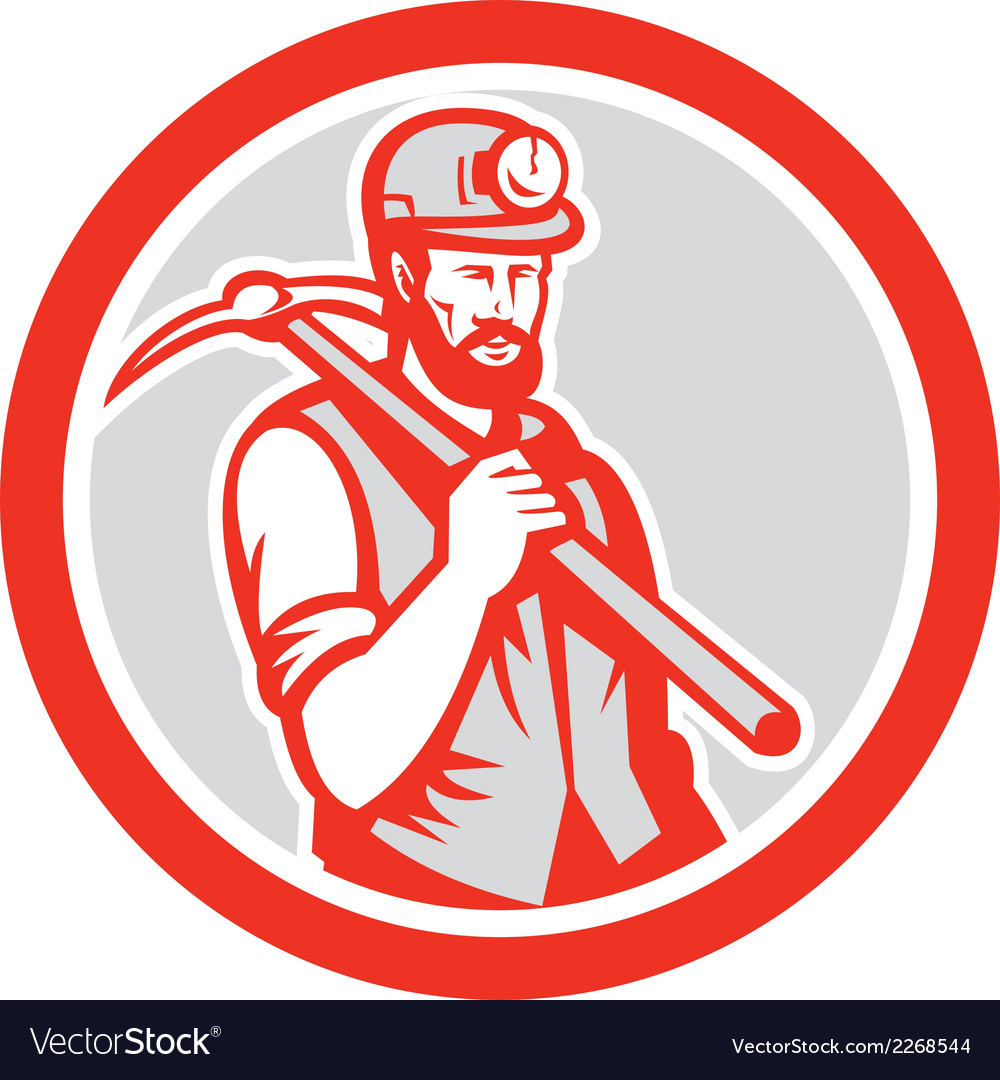 Coal miner hardhat holding pick axe circle woodcut vector | Price: 1 Credit (USD $1)