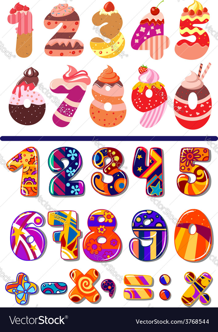 Colorful sets of numbers or digits vector | Price: 1 Credit (USD $1)