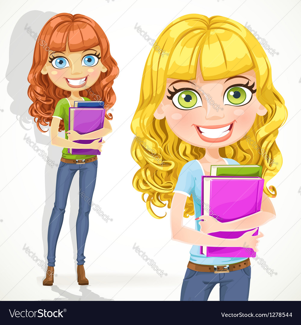 Cute teen girl with wavy hair keeps books vector | Price: 1 Credit (USD $1)