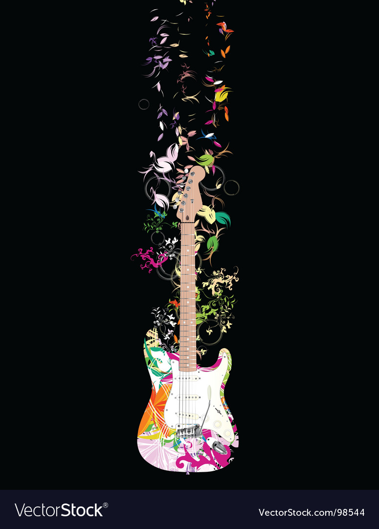 Digital guitar vector | Price: 1 Credit (USD $1)