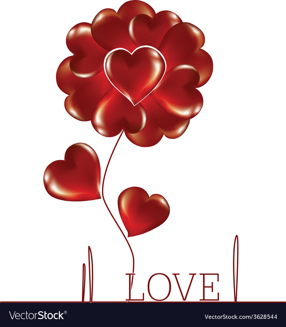 Flower woven heart vector | Price: 1 Credit (USD $1)