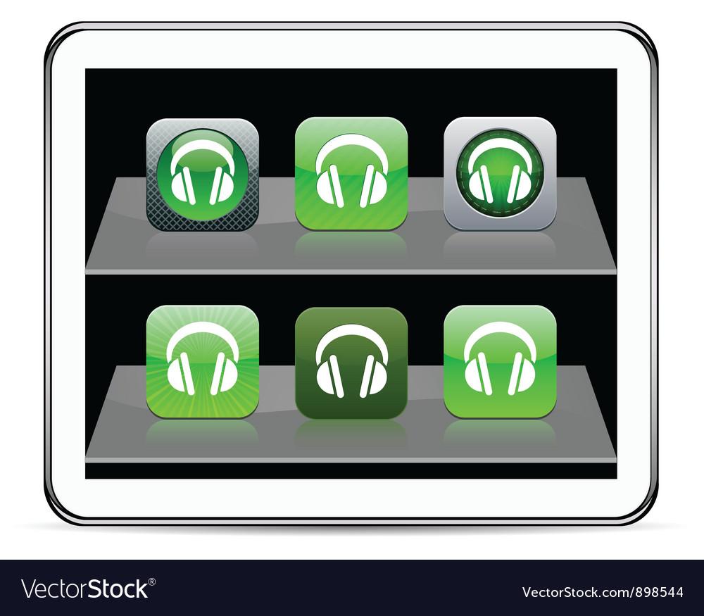 Headphones green app icons vector   Price: 1 Credit (USD $1)