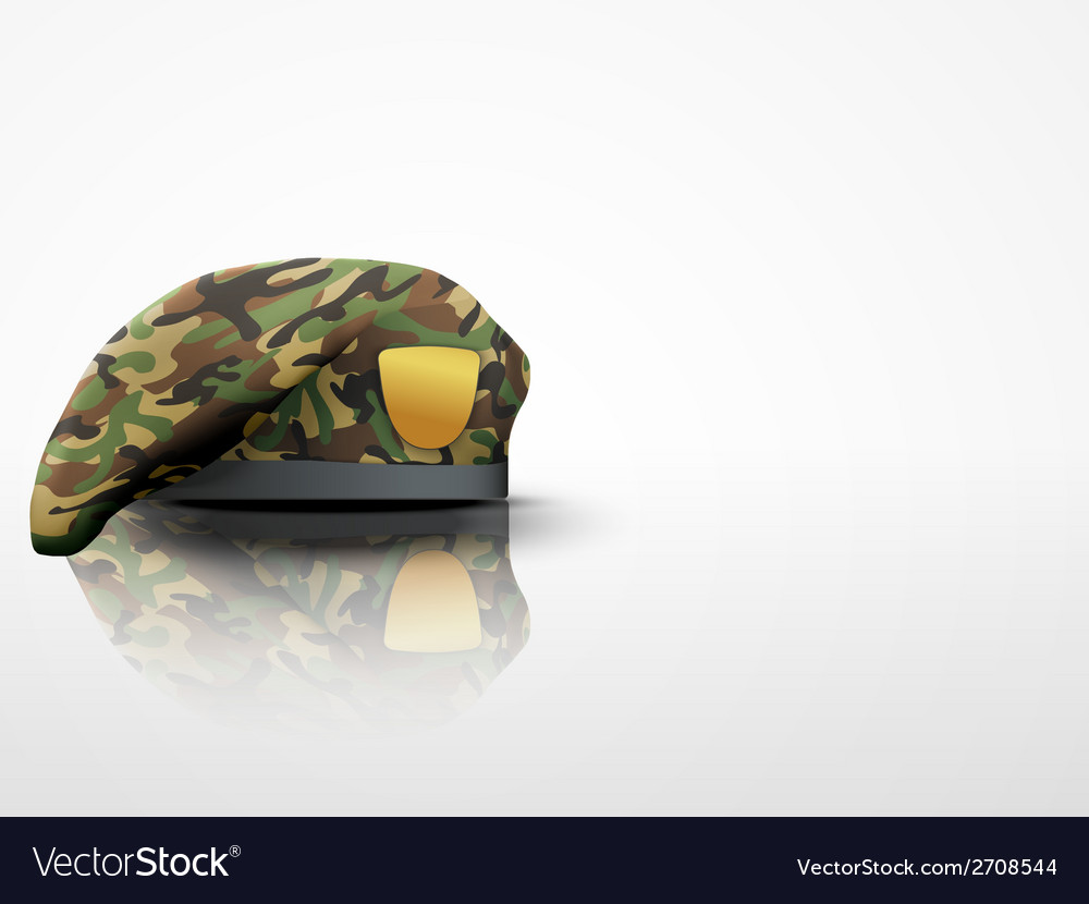 Light background military camo beret special vector | Price: 1 Credit (USD $1)