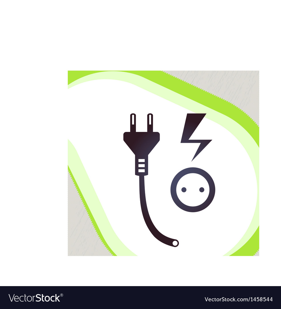 Plug and socket retro-style emblem icon pictogram vector | Price: 1 Credit (USD $1)