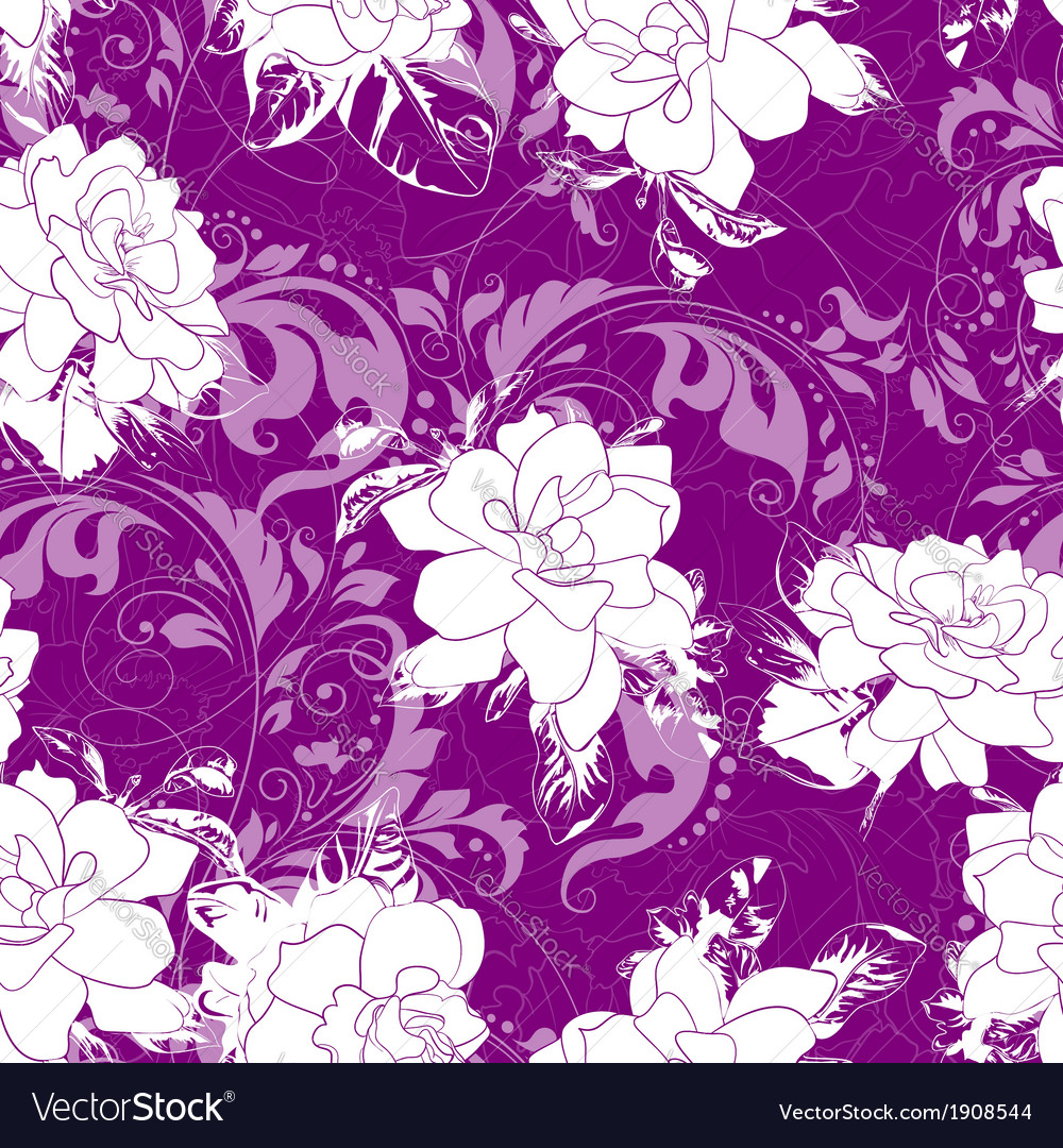 Seamless abstract waves pattern floral backgroun vector | Price: 1 Credit (USD $1)