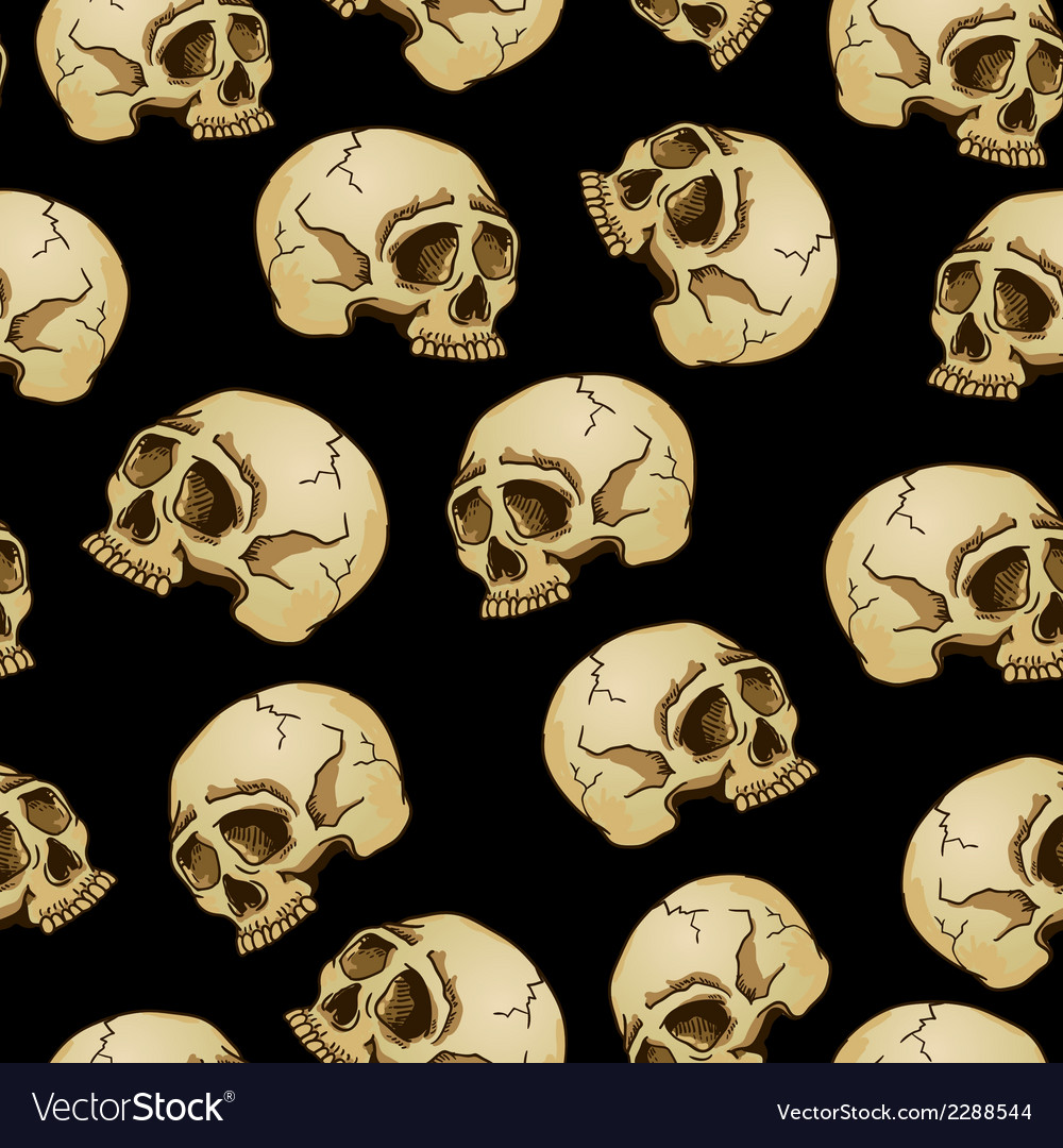 Seamless background with skulls vector | Price: 1 Credit (USD $1)